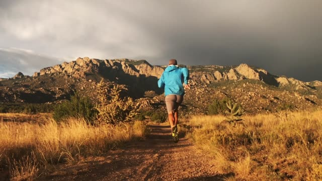 trail running sunset landscape - new mexico stock videos & royalty-free footage