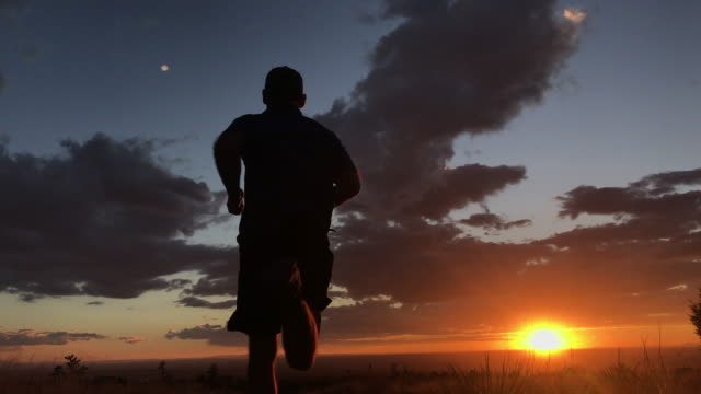 trail running - cactus sunset stock videos & royalty-free footage