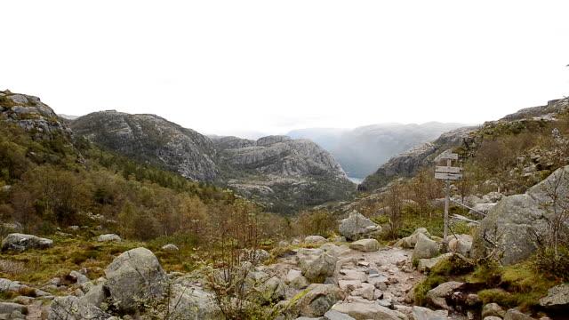 trail to preikestolen cliff, norway - stavanger stock videos & royalty-free footage