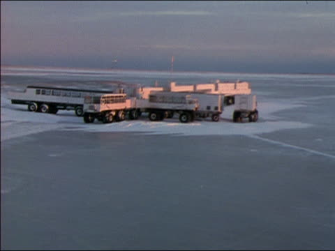 ws trailers on arctic station - convoy stock videos & royalty-free footage