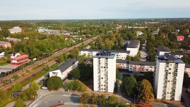 train and trainstation, villa suburb, haggvik, sollentuna - suburb stock videos and b-roll footage
