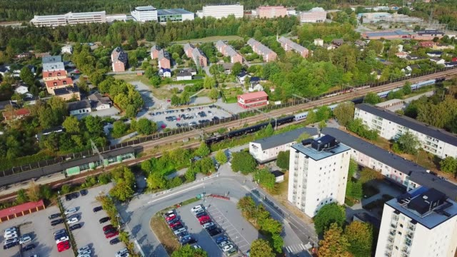 train and trainstation, villa suburb, haggvik, sollentuna - following stock videos & royalty-free footage