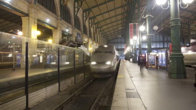 A train arrives at Gare du Nord in Paris, France.
