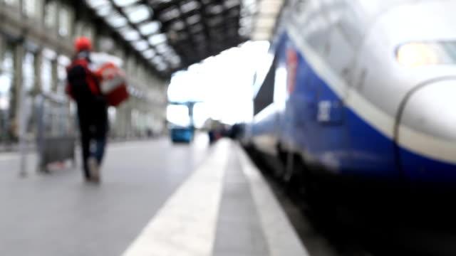 A train arrives during rush-hour at Gare de Lyon, Paris.