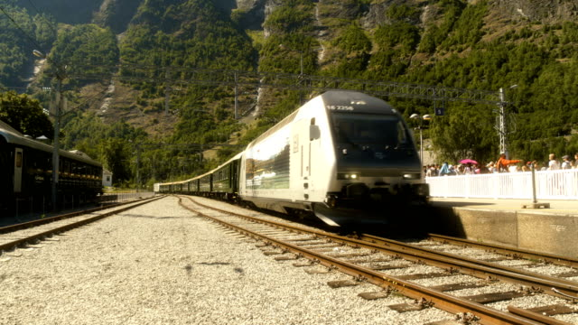 train arriving at flåm norway - nutshell stock videos & royalty-free footage