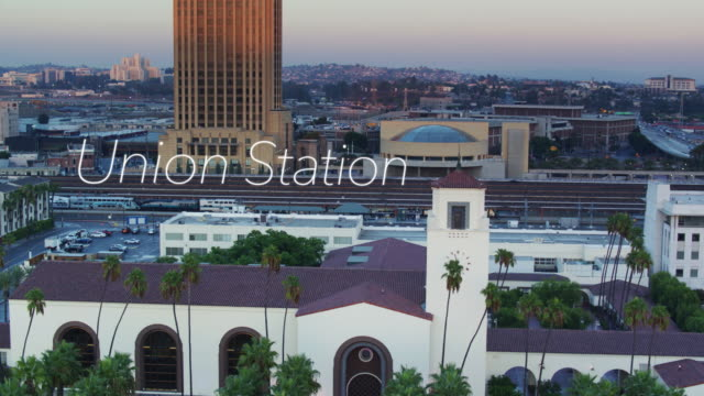 train arriving in union station, los angeles with floating text - union station los angeles stock videos & royalty-free footage