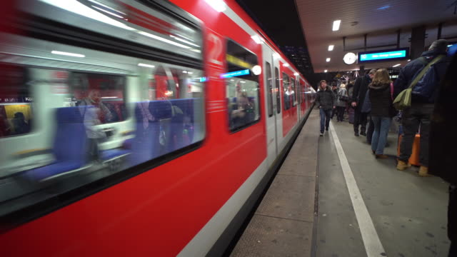 train arriving to the platform in germany - railway station stock videos & royalty-free footage