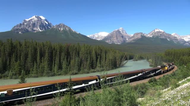 MS Train at morants curve and Bow river / Banff National park, Alberta, Canada