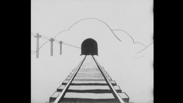 pov - train car disappears into the distance as the black tunnel entrance fills the screen - vagone video stock e b–roll