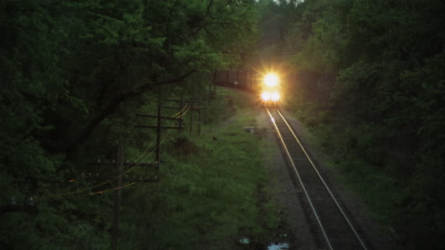 WS HA Train coming down tracks with lights on, Iowa, USA