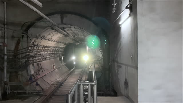 train coming from subway tunnel - liyao xie stock videos & royalty-free footage