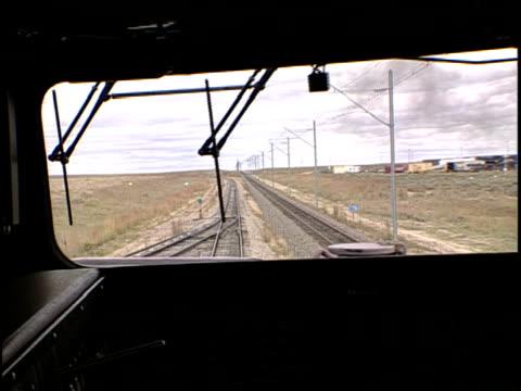 cu, pan, train conductor driving train, pueblo, colorado, usa - pueblo colorado stock videos & royalty-free footage