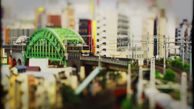 JR Train crossing a Bridge in Akihabara Tilt Shift