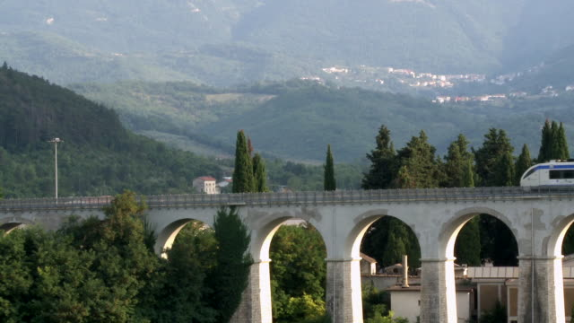 ws train crossing bridge / isernia, molise, italy  - ferrovia video stock e b–roll