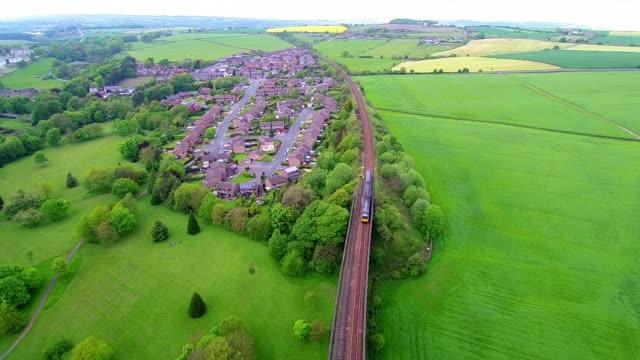 train crossing penistone viaduct aerial video - viaduct stock videos & royalty-free footage