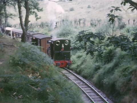 stockvideo's en b-roll-footage met  ws ts train crossing through mountain and bushes \ mauritius - commercieel landvoertuig
