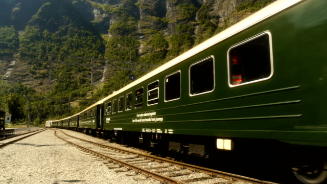 train departing from flåm norway - nutshell stock videos & royalty-free footage