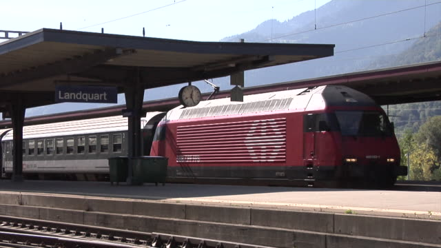 train departs from the landquart railway station - commercial land vehicle stock videos & royalty-free footage