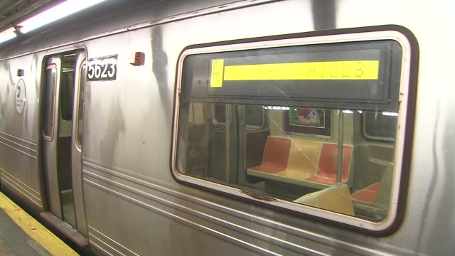 train doors close on station platform on august 03 2013 in new york new york - long island railroad stock videos and b-roll footage