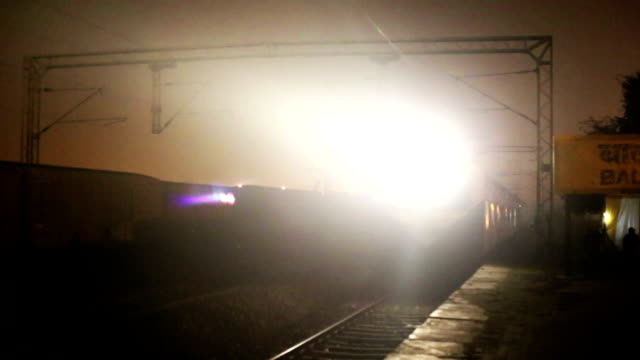 Train Entering to Station in the Night