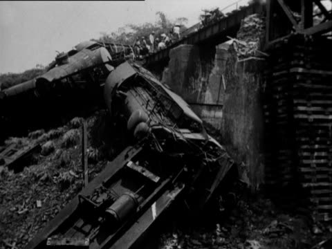 train fell in a ravine due to a sabotage on the bridge - sabotage stock videos & royalty-free footage