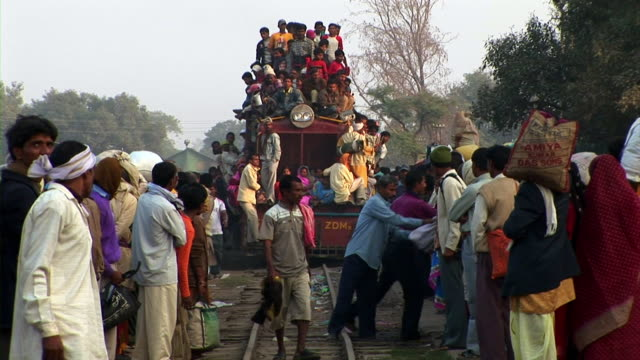 train full of passengers moving in nepal - railway track stock videos & royalty-free footage