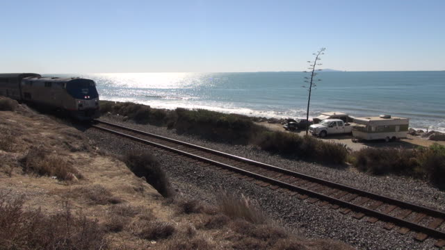 train goes by coastal campground - ventura stock videos and b-roll footage