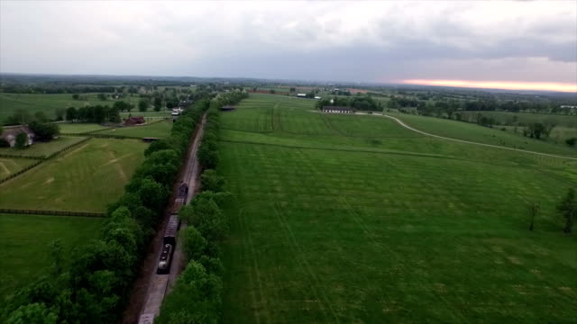 AERIAL: Train going down the railway in Nashville