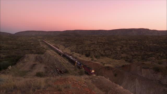 Train going through the Australian terrain