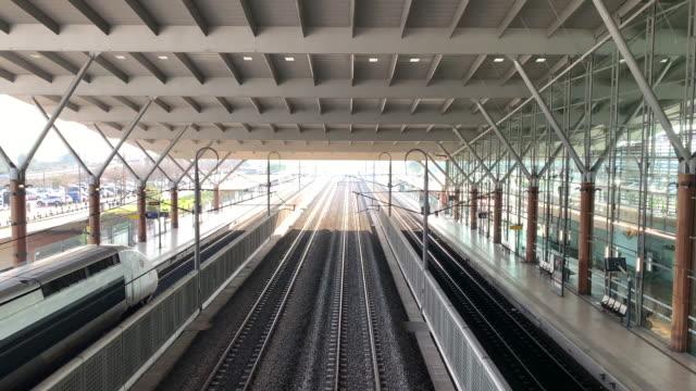 tgv train in avignon railroad station - rail transportation stock videos & royalty-free footage