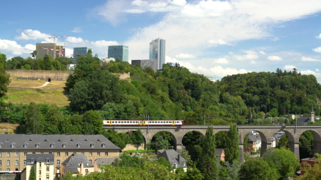 train in luxembourg with business district - luxembourg benelux stock videos & royalty-free footage