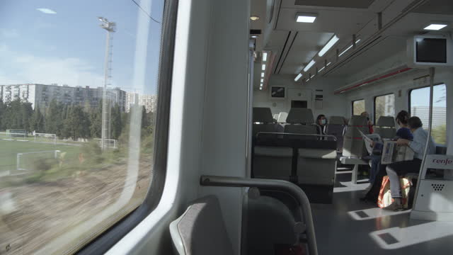 train interior at barcelona spain during coronavirus crisis new normal - passenger stock videos & royalty-free footage
