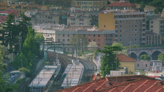 ws train leaving from train station / rome, italy - railway track stock videos & royalty-free footage