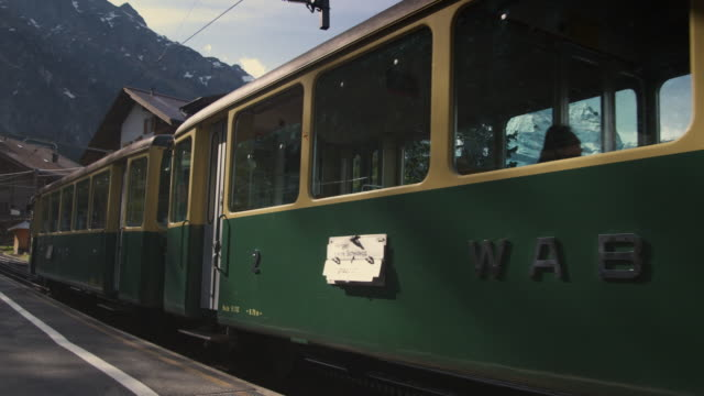 MS, Train leaving Wengen railway station, Lauterbrunnen, Switzerland