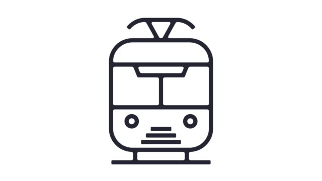 train line icon animation - outline stock videos & royalty-free footage