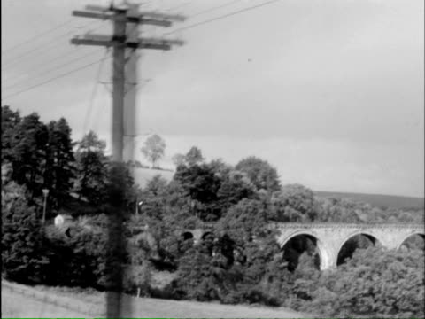 vídeos de stock, filmes e b-roll de ms ts train moves slowly through picturesque countryside with camera attached to side of train looking forward with view of stations and countryside / scotland - só homens maduros