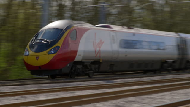 MS WS PAN TS Train moving at high speed / Doncaster, South Yorkshire, England, United Kingdom