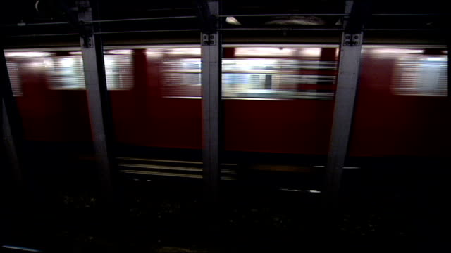 Train Moving in Subway Station in NYC