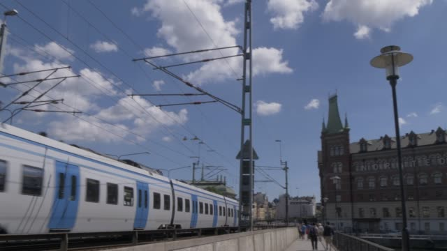 Train on Centralbron bridge towards Riddarholmen, Stockholm, Sweden, Scandinavia, Europe