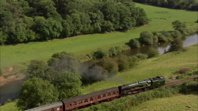 low aerial, train on severn valley railway, worcestershire, england - steam train stock videos & royalty-free footage