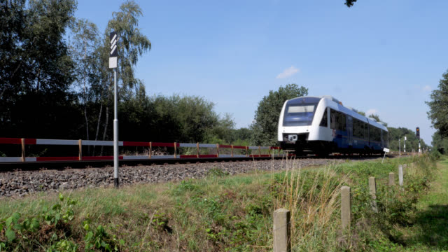 stockvideo's en b-roll-footage met train on the maas line in the netherlands - kees van den burg