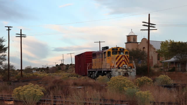 ms pan train parked on railroad tracks / lamy, new mexico, united states - lamy new mexico stock videos & royalty-free footage