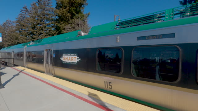 smart train passenger rail system sonoma marin arrival - marin stock videos & royalty-free footage