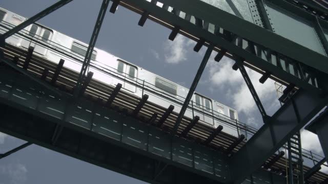 las train passes overhead with track shadows - högbana bildbanksvideor och videomaterial från bakom kulisserna