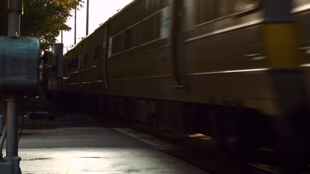 Train passing railroad crossing, blocking sun