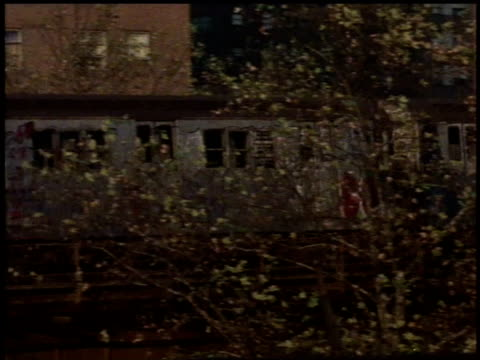 1982 ms train passing through neighborhood / bronx, new york city, new york, united states - 1982 stock videos and b-roll footage
