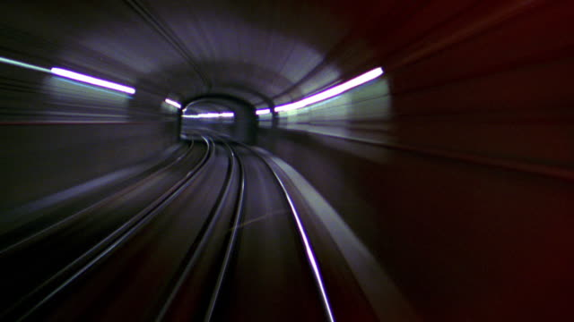 train point of view through tunnels and entering station / boston - underground train stock videos & royalty-free footage