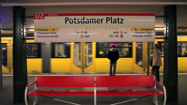 A train pulls into a subway station in Berlin, Germany.