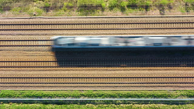 train, railroad in landscape, aerial view from above - railway track stock videos & royalty-free footage
