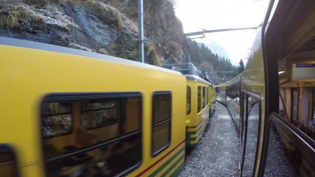 Train ride from Wengen to Lauterbrunnen, Jungfrau region, Bernese Oberland, Swiss Alps, Switzerland, Europe